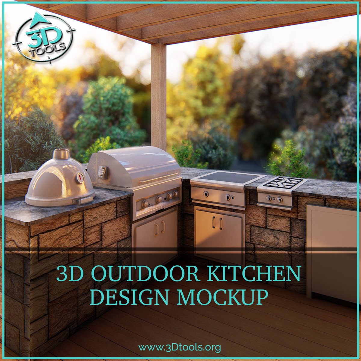 outdoor kitchen 3d design  3d tools