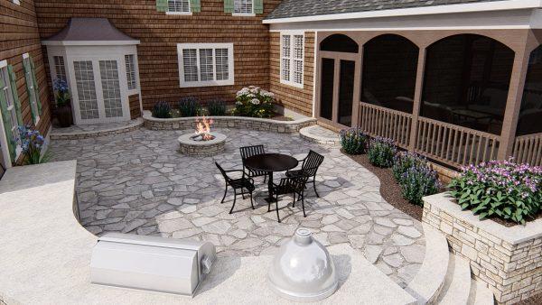 outdoor kitchen design patio 3d