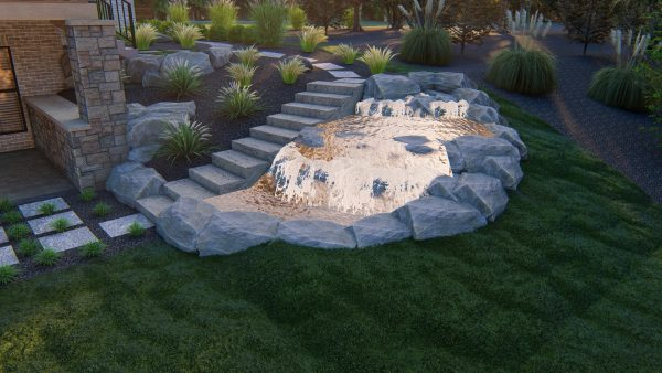 Backyard remodel putting green waterfall pathway stairs landscaping design