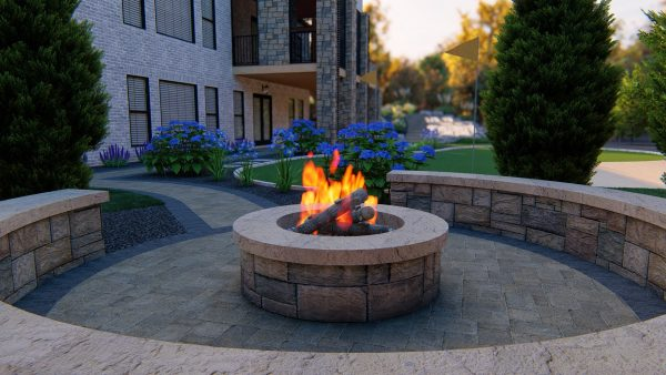 Backyard remodel fire pit