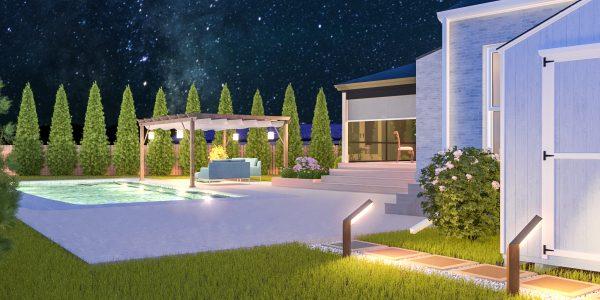 outdoor living space pool designer