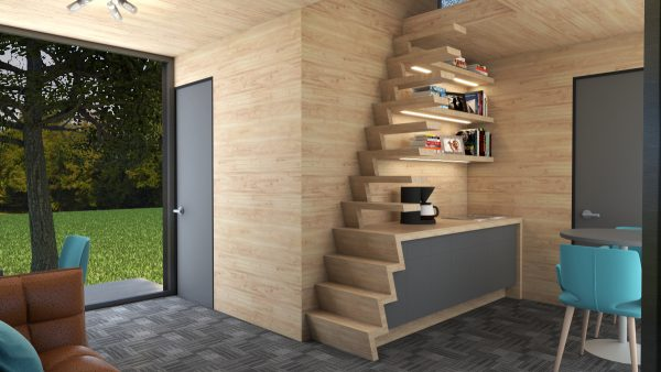 tiny house design office stairs