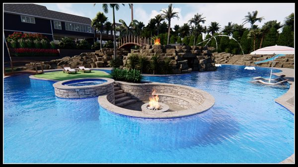 sunken hot tub lagoon pool fire pit