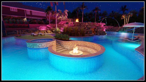 Sunken hot tub pool designer 3d model mockup