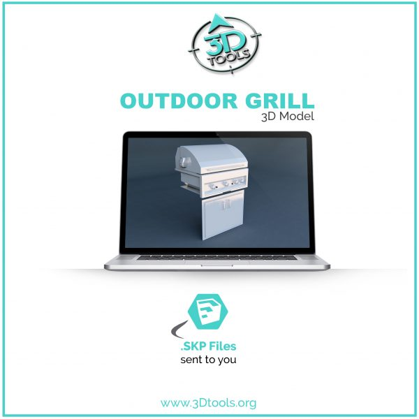 Outdoor Grill with Lid 3d model sketchup