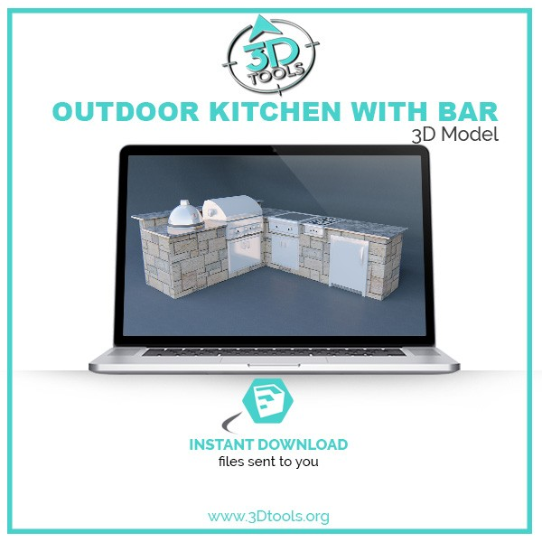 Outdoor Kitchen Island With Bar 3d Model Sketchup Instant Download