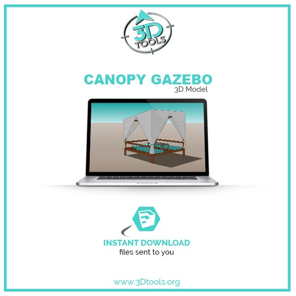 Outdoor Gazebo with canopy 3d model daybed