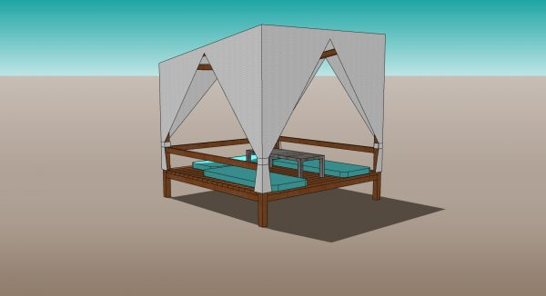 Outdoor Gazebo with canopy 3d model instant download
