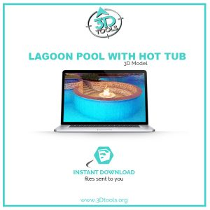 Outdoor lagoon pool with hot tub 3d model