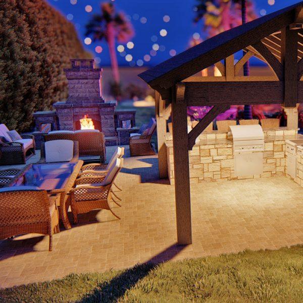 3d pool landscape design rendering mockup- OUTDOOR KITCHEN
