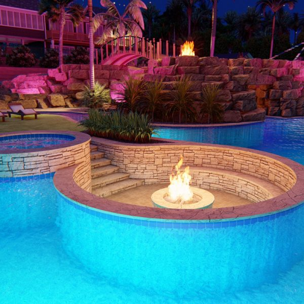 3d pool landscape design rendering mockup- hot tub