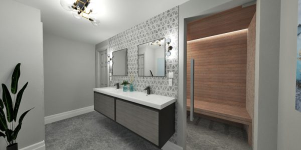 3d bathroom design sauna home design mockup rendering 3d