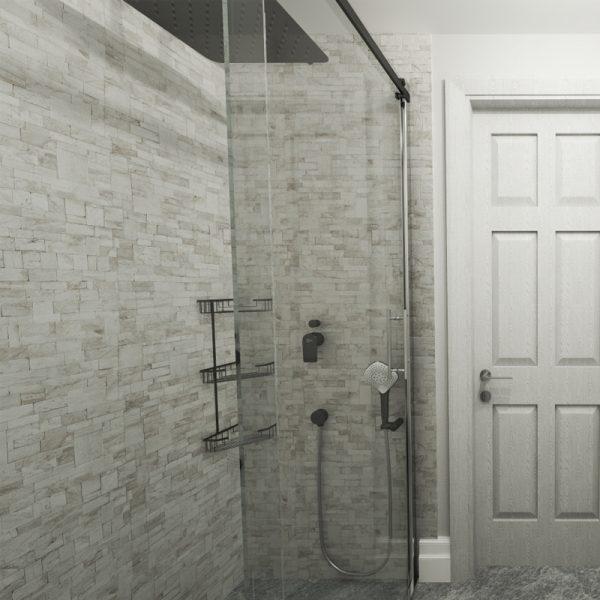 walkin modern 3d bathroom design rendering 3d mockup