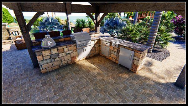 outdoor kitchen landscape design gazebo pergola construction 3d