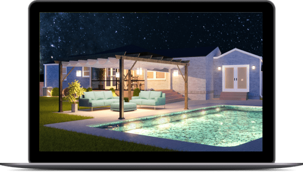3d designer landscape design rendering mockup outdoor pool design