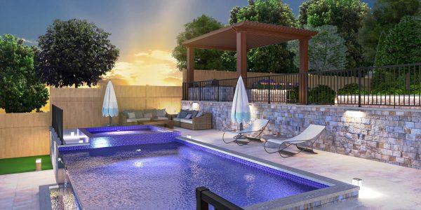 landscape pool deck designer plans 3d pergola outdoor kitchen