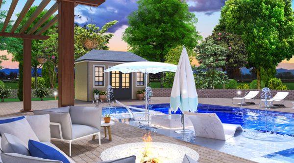 landscape pool deck designer plans 3d pool house firepit