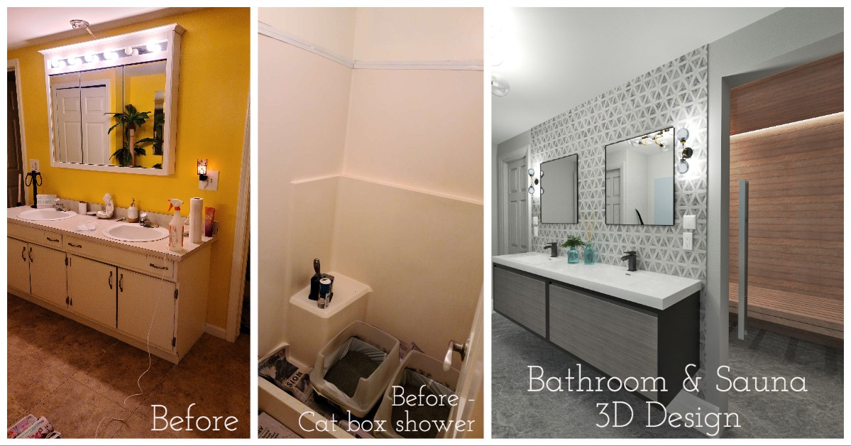 before and after construction bathroom remodel