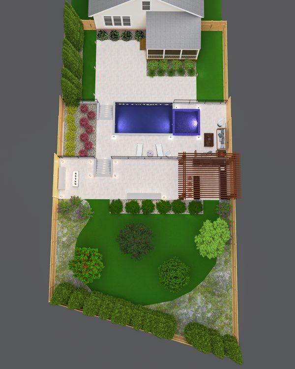 top down landscape pool design architecture layout plan
