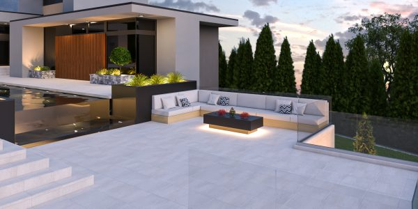 modern outdoor living built in couch pool deck design