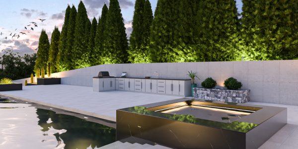 hot tub outdoor kitchen pool design