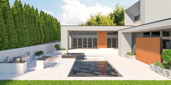 fire wall feature design modern luxury pool