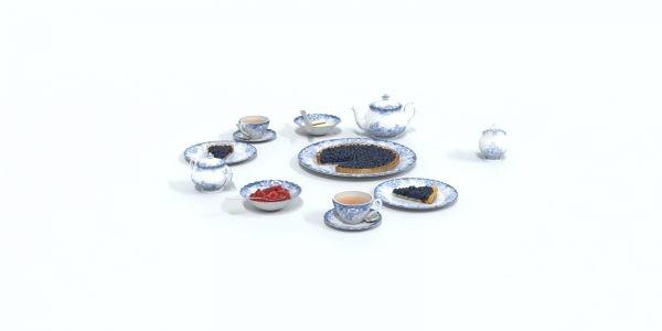 3d tea set model